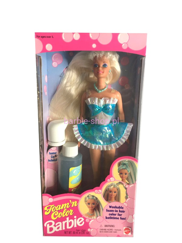 1995 Barbie Foam N Color Blue Video Barbie Shop Pl