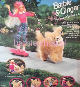 1997  Barbie &  Ginger Dog  /  Pies  Zestaw ( Video )